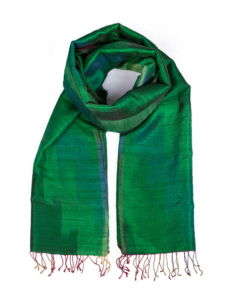 Banarasi Handwoven Raw Silk Stole Medium Green - ahmedabadtrunk.in