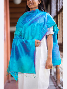 Banarasi Handwoven Rainbow Silk Stole Medium Blue (Multicolor) - ahmedabadtrunk.in