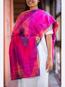 Banarasi Handwoven Rainbow Silk Stole Medium Pink( Multicolor) - ahmedabadtrunk.in