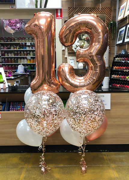 "Jumbo Foil Number, 16"" Confetti and 3 Latex Bouquet SET - SELECT COLOUR THEME"