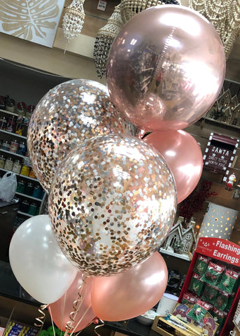 "Foil Orb, 2 x 16"" Confetti and 5 Latex Bouquet - SELECT COLOUR THEME"