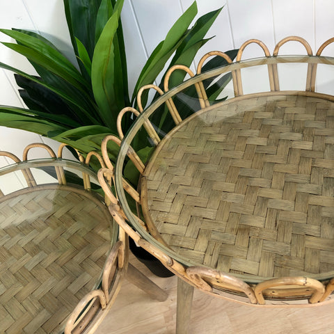 Willow Rattan Glass Top Side Tables