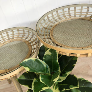 Isla Rattan Glass Top Side Tables