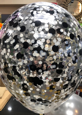 Confetti Balloon - Black, Silver and White
