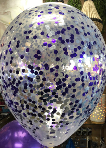 Confetti Balloon - Purple and Silver