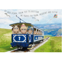 Great Orme Goat Greeting Card - Tram