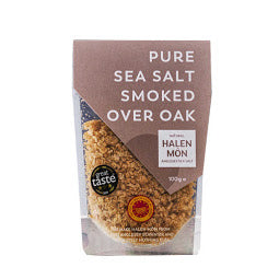 100g Sachet of Halen Mon Pure Sea Salt Smoked over Oak