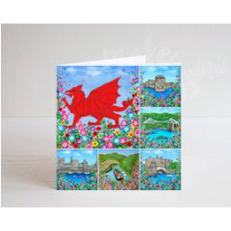 North Wales Montage and Dragon Greeting Card