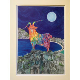 Load image into Gallery viewer, Rainbow Goat Print - Bay & Moon - A4