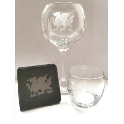 Welsh Dragon Etched Slate Coaster