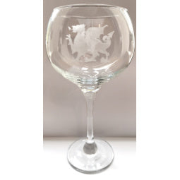 Welsh Dragon Etched Gin Glass