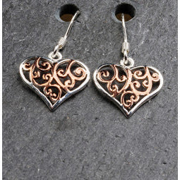 Celtic Heart Earrings - Sterling Silver and Rose Gold Plated