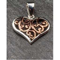 Celtic Heart Pendant - Sterling Silver and Rose Gold Plated