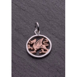 Image of silver and rose gold dragon pendant