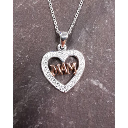 Mam' Pendant - Sterling Silver with Rose Gold Plating