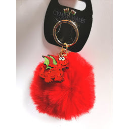 Image  of red dragon pom pom keyring