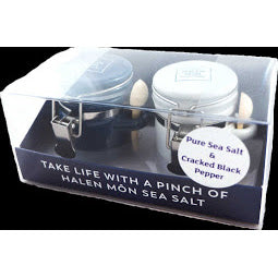 Two Clamp Jars With Halen Mon Pure Sea Salt and Pepper