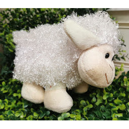 Image of small white fluffy sheep soft toy
