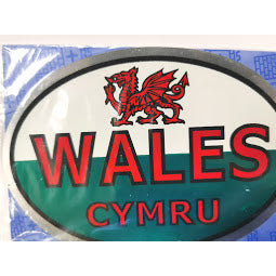 Image of Car Sticker with Wales Flag and Red Dragon
