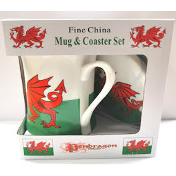 Load image into Gallery viewer, Image of Box holding Wales Flag China Mug and Coaster