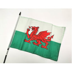 Image of Wales flag on a stick