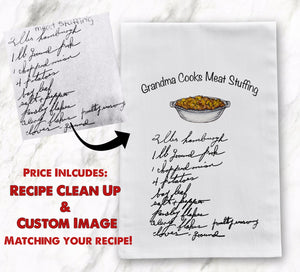 Handwritten Recipe Tea Towel  / Flour Sack Heirloom Recipe Tea Towel Custom Handwritten