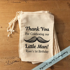 Little Man Mustache Gift Party Favor Bag