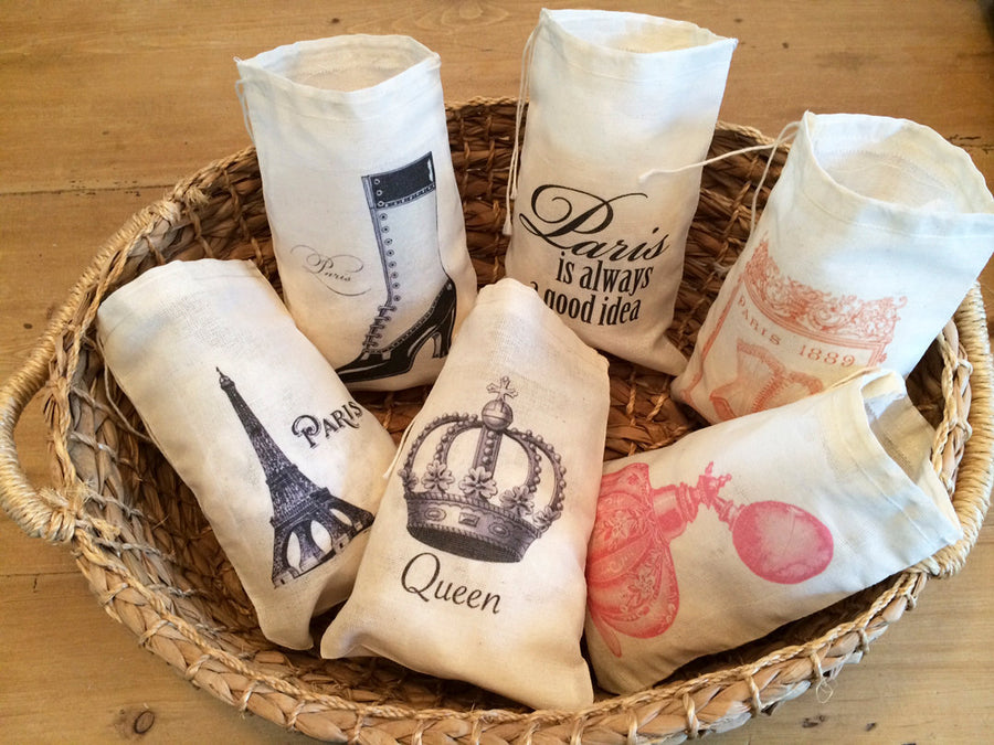 6 Paris French France Gift Favor Bags