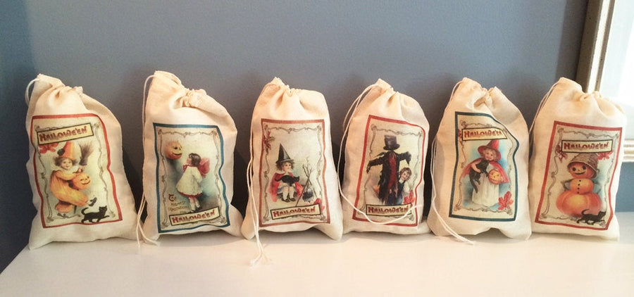 16 Halloween Victorian Vintage Treat Candy Bags