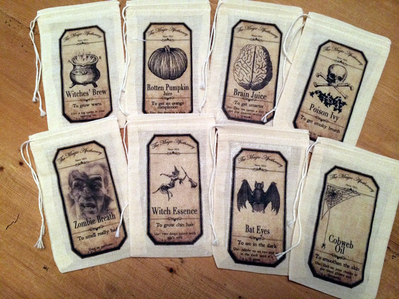 8 Halloween Potion Treat Candy Bags