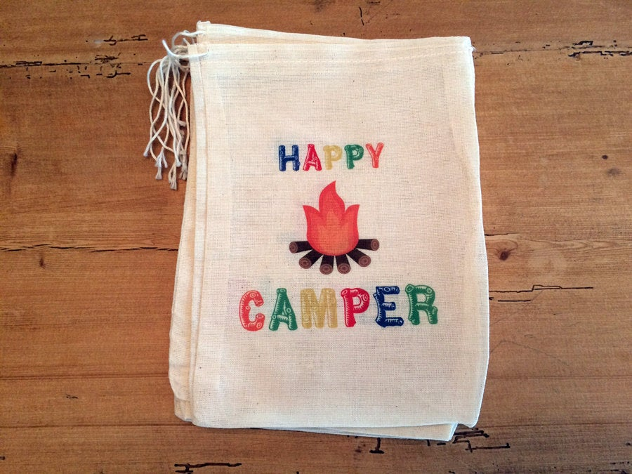 Happy Camper Multi Colors - Camping Party Favor Bag