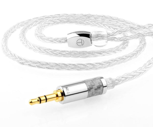 TRN T3 Pure Silver Headphone Cable 2.5/3.5MM With MMCX/2PIN Connector - Audiophile Store