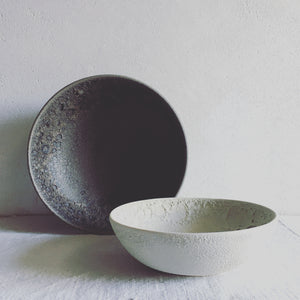 stoneware bowl beige, lunatick collection, handmade ceramics by Carola Barroch, Ibiza, gray volcanic and beige lunar