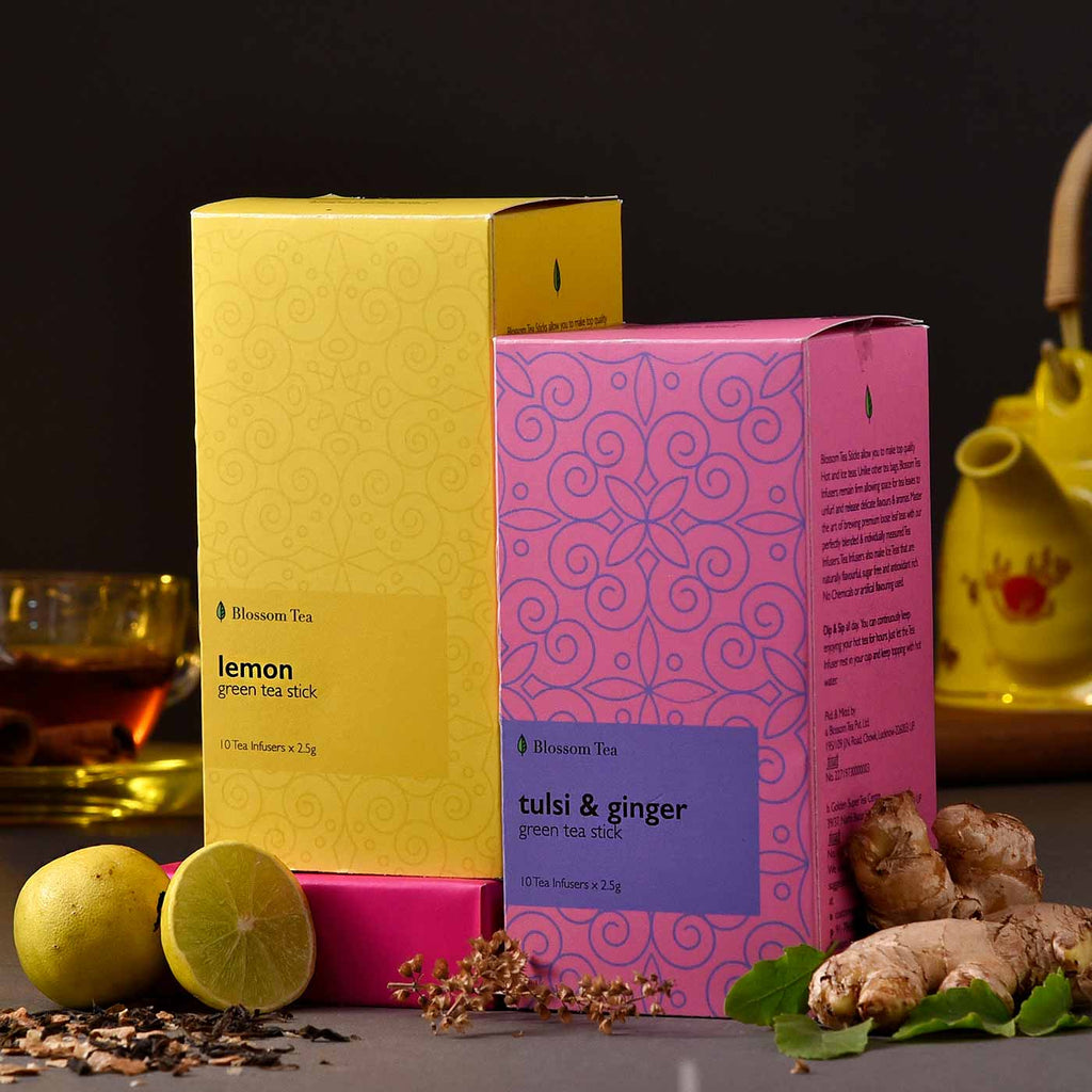 Immunity Friendly Lemon & Tulsi Ginger Green Tea Sticks