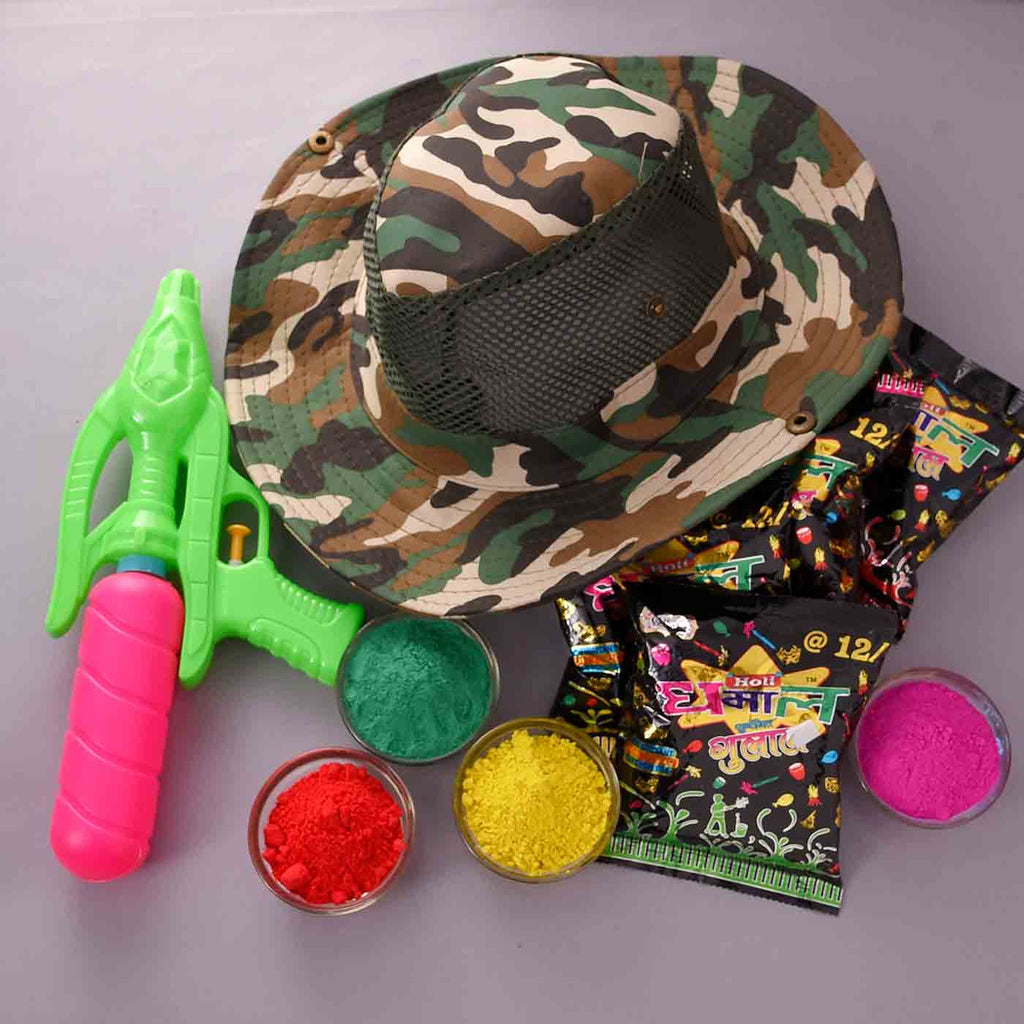 Special Camouflage Holi Hat, Water Gun & Fragrant Gulal For Holi