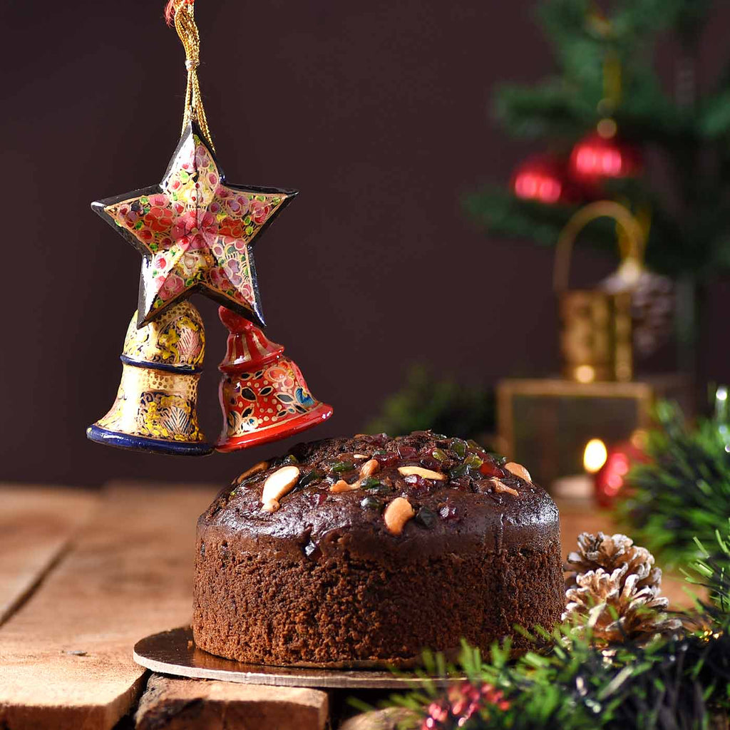 Delicious Cashew Cherry Plum Cake with Handcrafted Papier Mâché Holy Christmass Star & Bells