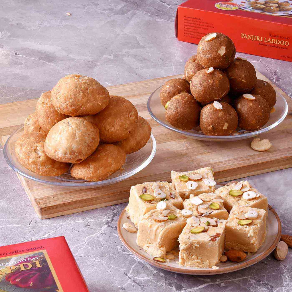 Delectable Hamper Of Panjiri Laddoo, Soan Papdi & Khasta