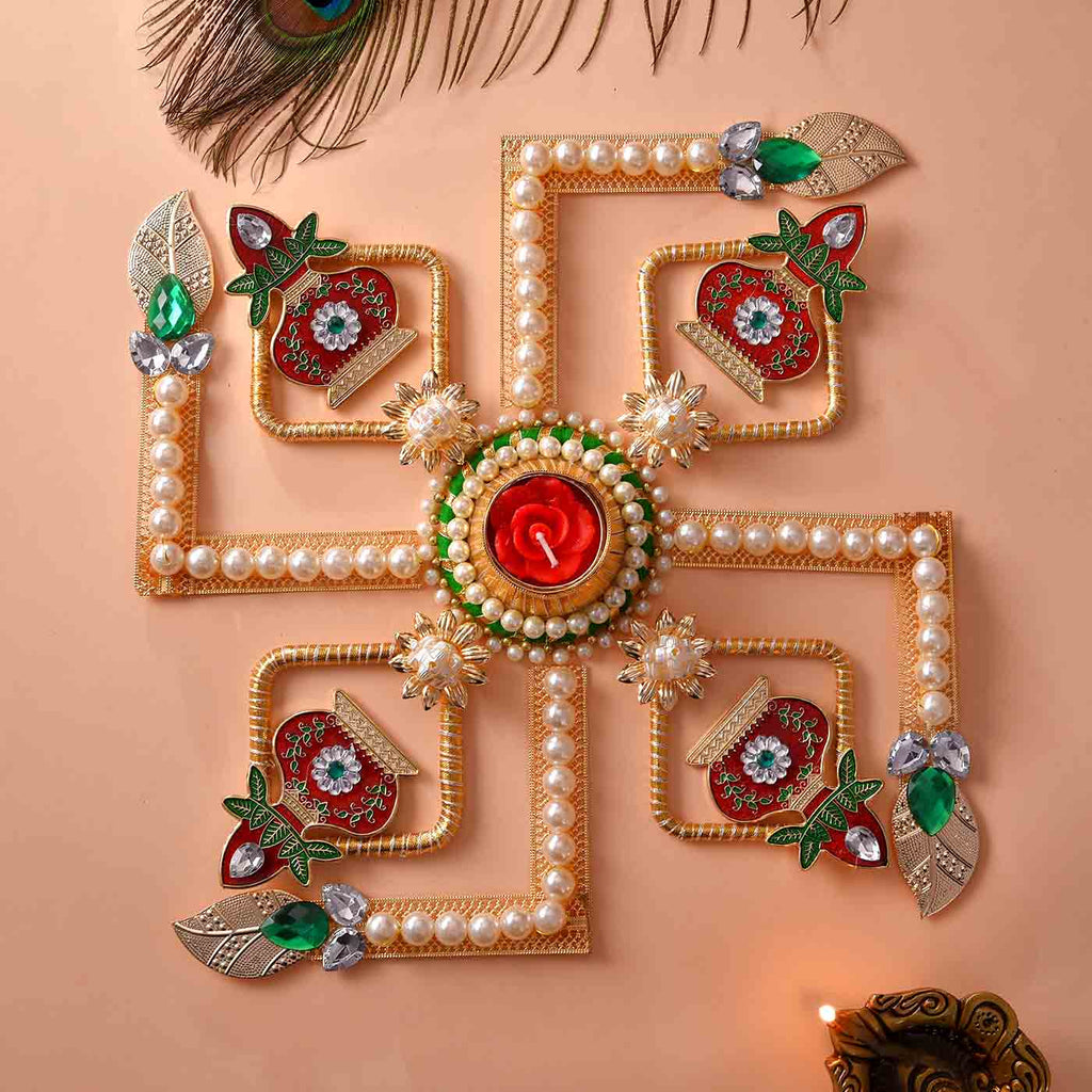 Traditional Swastik & Kalash Pearls Rangoli