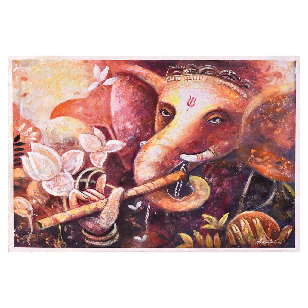 Contemporary Ganesha With Flute Painting