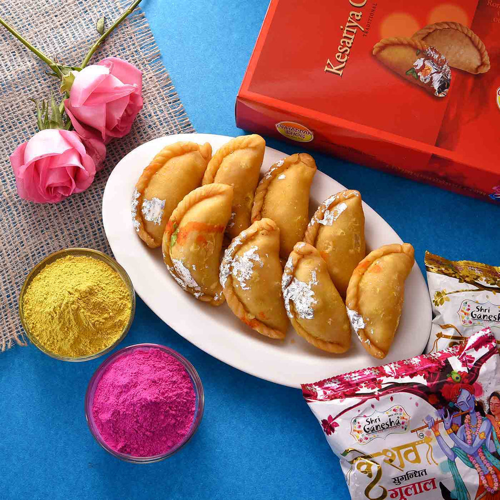 Irresistible Kesariya Gujiya with Set of 2  Kesav Fragrant Gulal