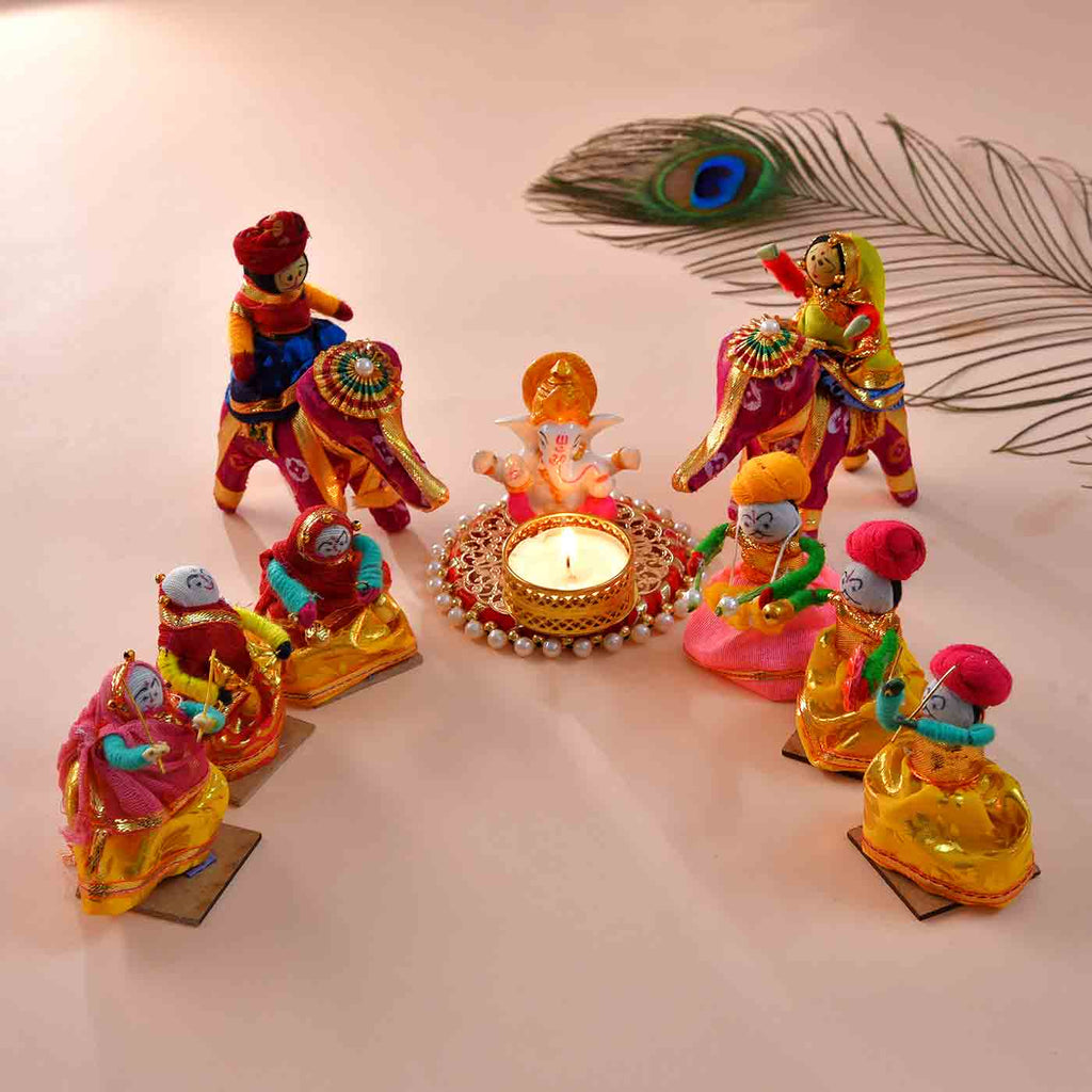 Rajasthani Troupe With Ganesha Rangoli