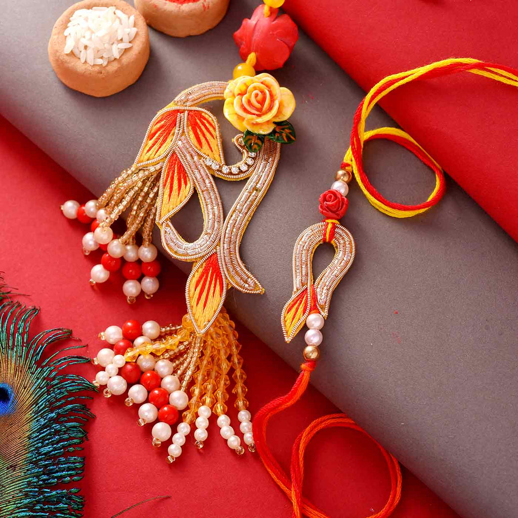 Embroidered Beads Bhaiya Bhabhi Rakhi
