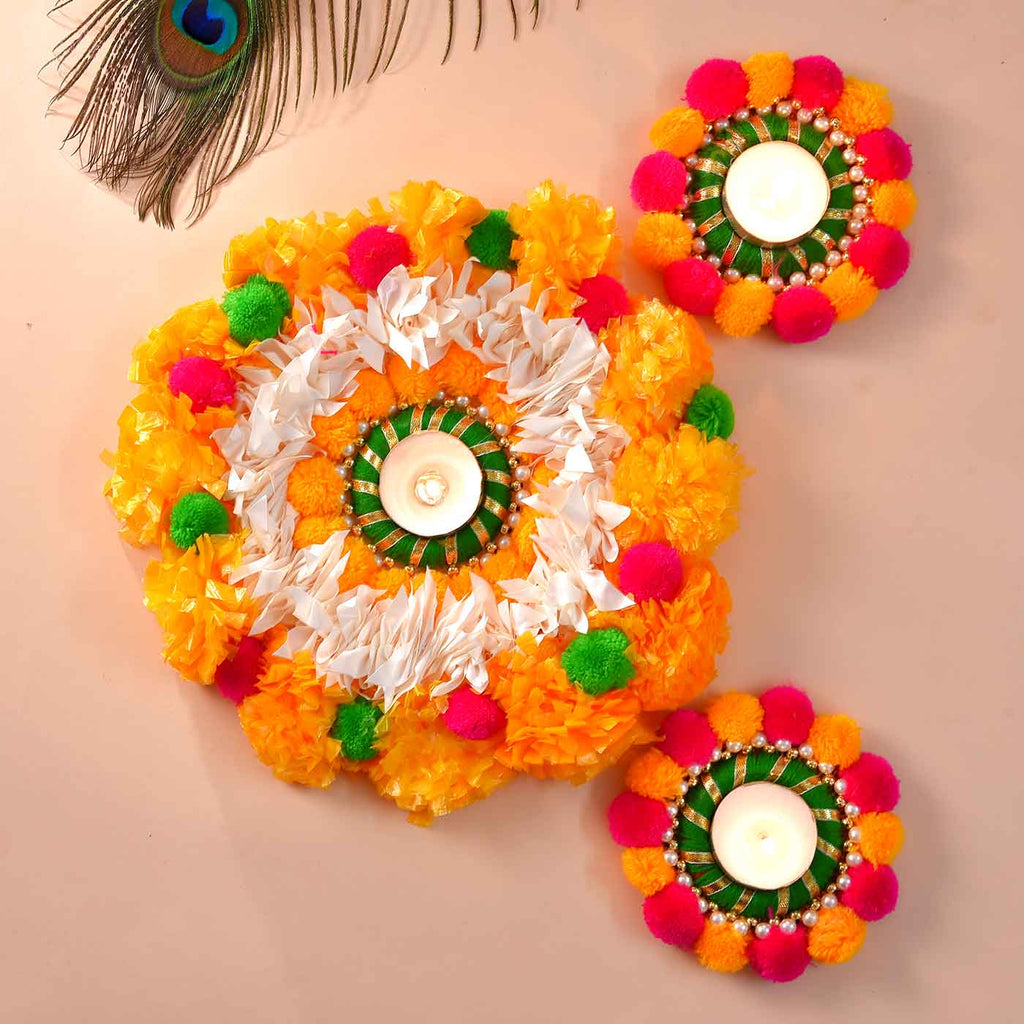 Vibrant Colored PomPom Rangoli