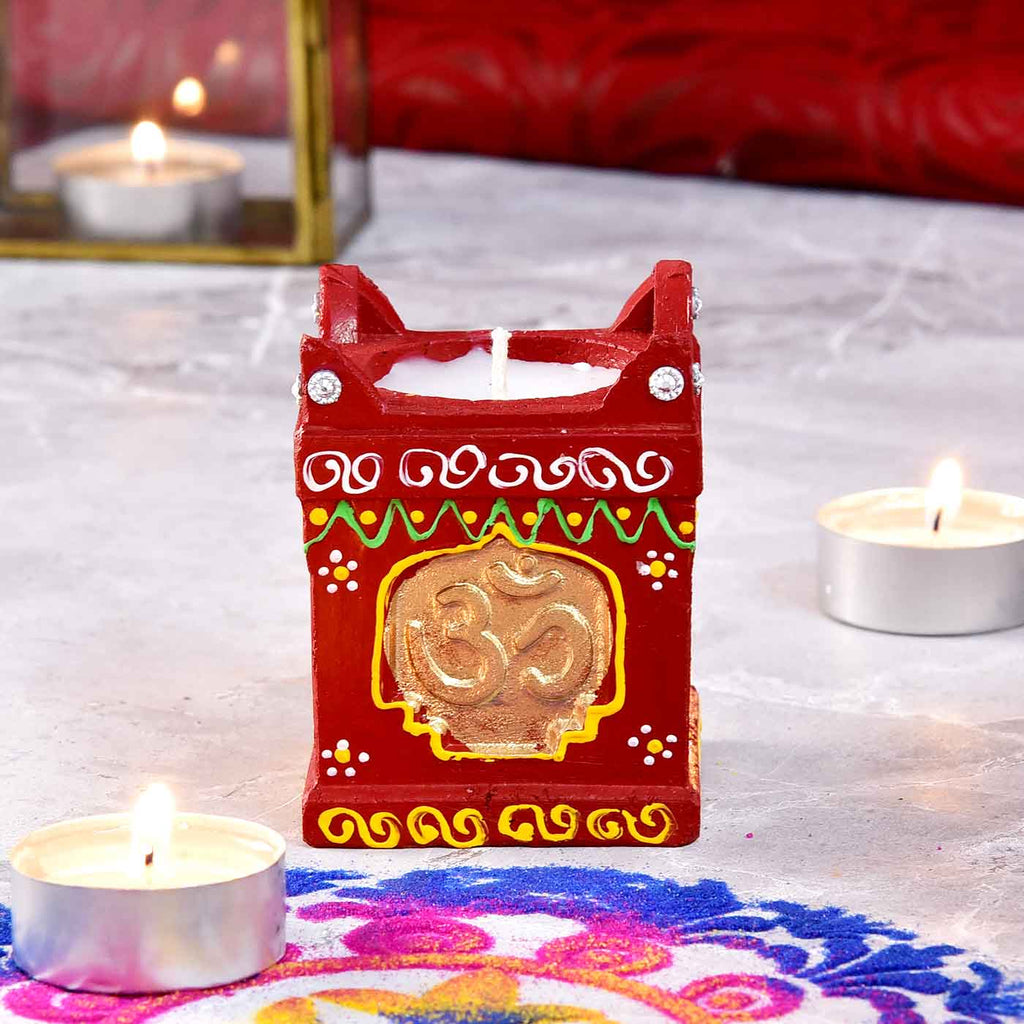 Om Traditional Tulsi Clay Handpainted Diya
