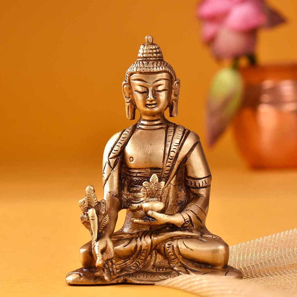 Captivating Buddha In Meditation Brass Idol