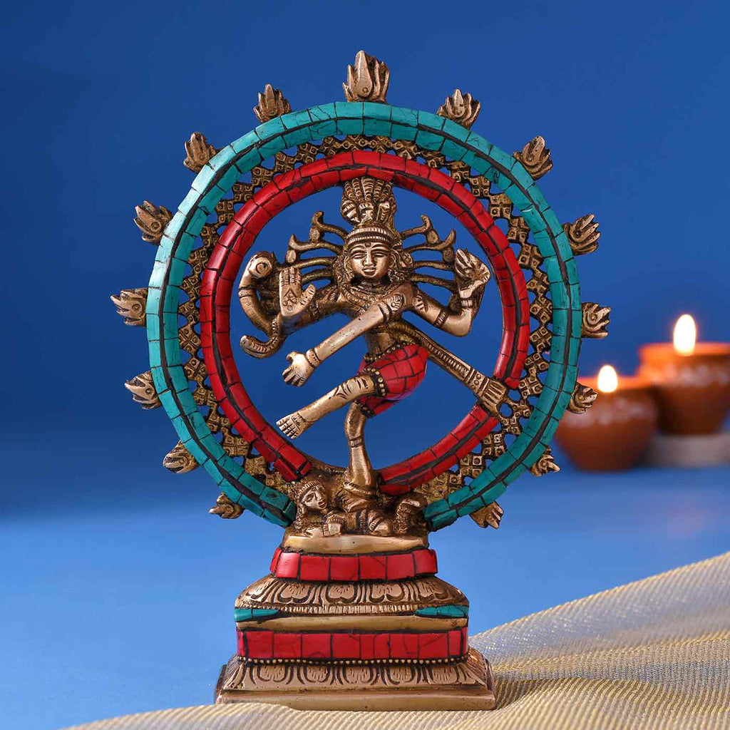 Colourful Lord Of Dance Natraj Brass Idol