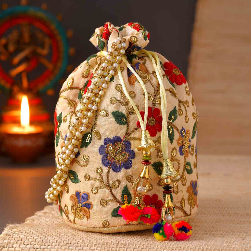 Potli Bag With Floral Embroidery