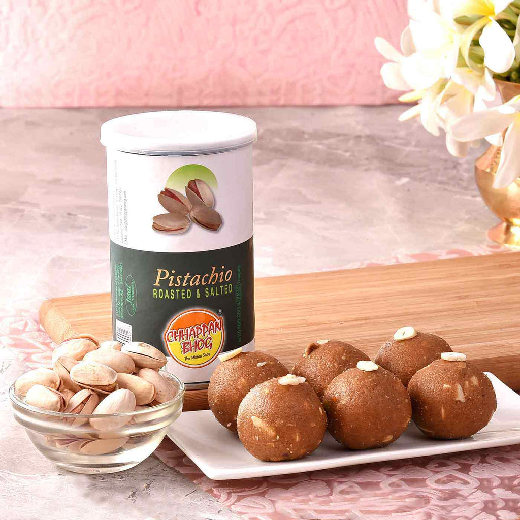 Amazing Hamper Of Pistachio & Panjiri Laddoo