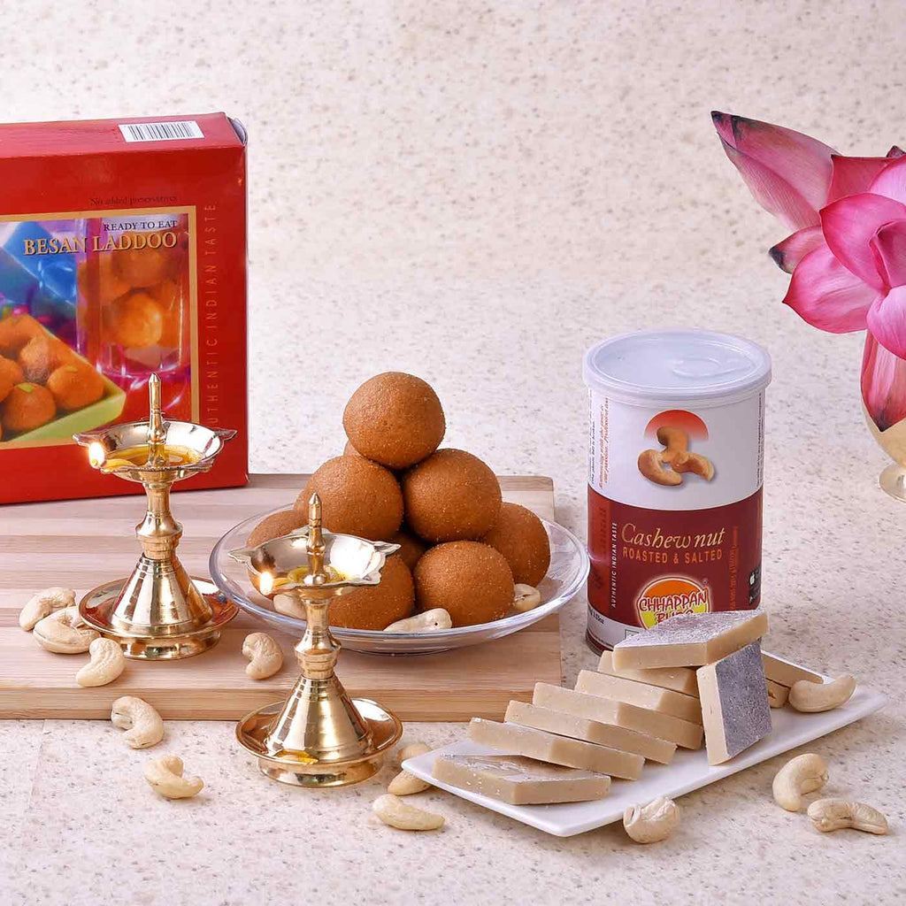 Pair Of Uddipi Deep With Besan Laddoo, Kaju Barfi & Roasted Cashews