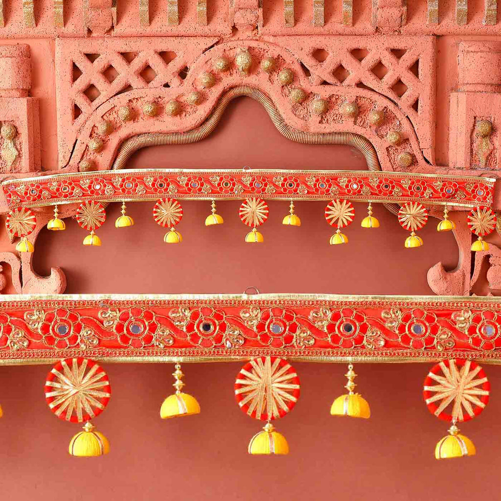 Stunning Mirror, Gota & Thread Beads Bandhanwar